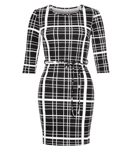 AX Paris Black Check Tie Waist Dress | New Look