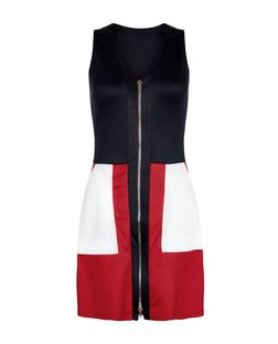 AX Paris Blue Colour Block Zip Front Dress | New Look