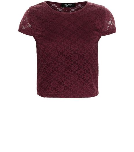 Girls Burgundy Lace Cap Sleeve Top | New Look