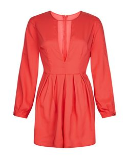 AX Paris Coral Cut Out Front Playsuit | New Look