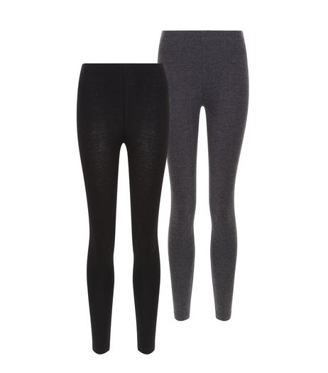 Girls 2 Pack Black and Grey Leggings | New Look