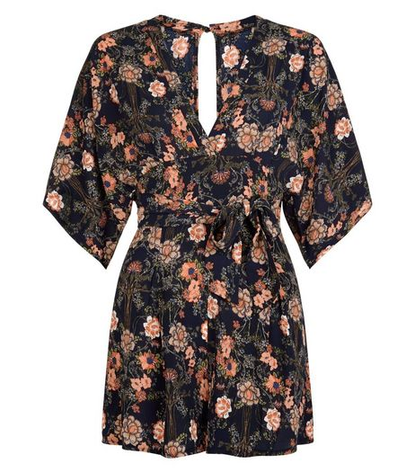 AX Paris Navy Floral Print V Neck Playsuit | New Look