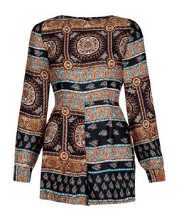 AX Paris Multicoloured Aztec Print Long Sleeve Playsuit | New Look