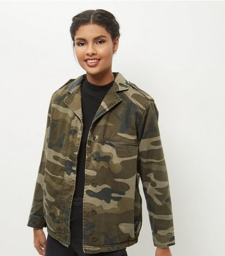 Green Cotton Borg Lined Camo Print Shacket  | New Look