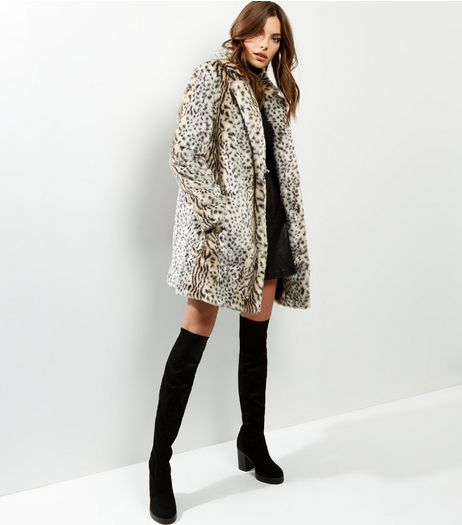 White Animal Print Faux Fur Midi Coat  | New Look