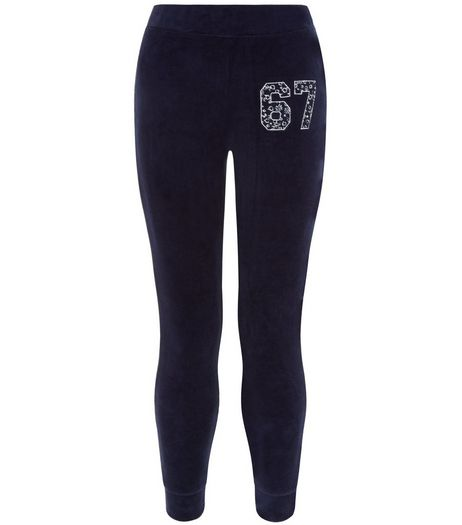 Girls Navy 67 Velour Joggers | New Look