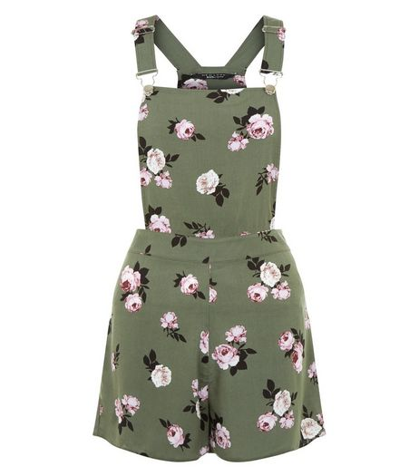 Teens Green Floral Print Pinafore Playsuit | New Look