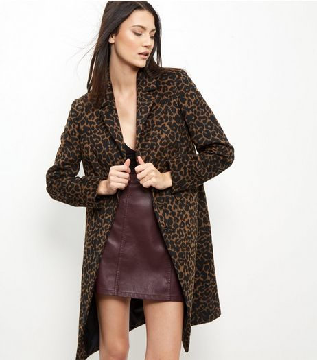 Brown Leopard Print Midi Coat | New Look
