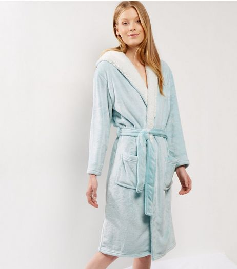 Mint Green Borg Lined Dressing Gown | New Look