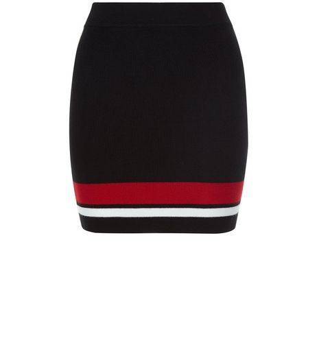 Teens Black Knitted Contrast Trim Tube Skirt | New Look