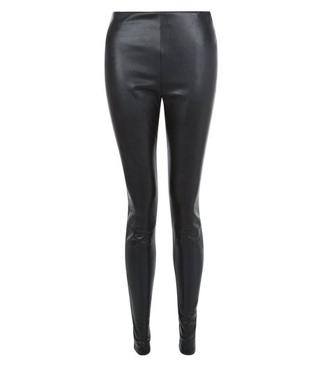 Black Leather-Look Leggings | New Look