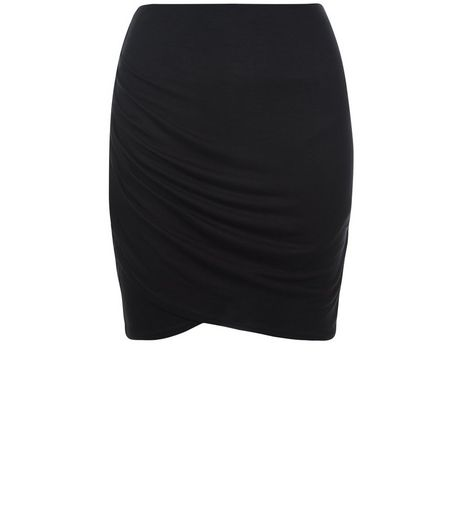 Teens Black Wrap Tube Skirt | New Look