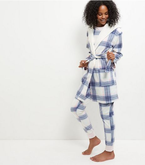 White Check Borg Trim Hooded Dressing Gown  | New Look