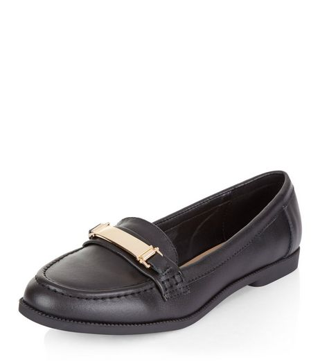 Teens Black Leather Metal Trim Loafers | New Look