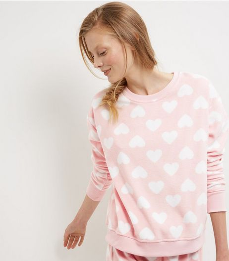 Pink Heart Print Sweater | New Look