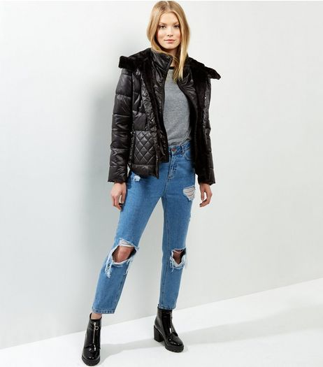 Black Faux Fur Line Quilted Coated Jacket | New Look