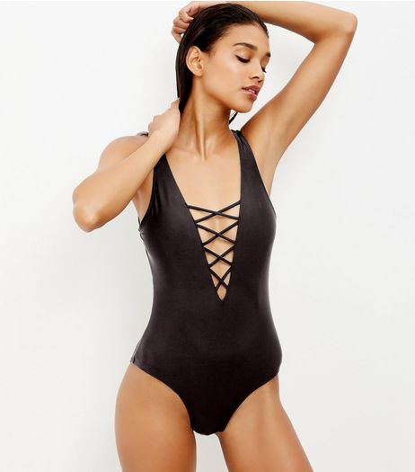Black Lattice Front Swimsuit | New Look
