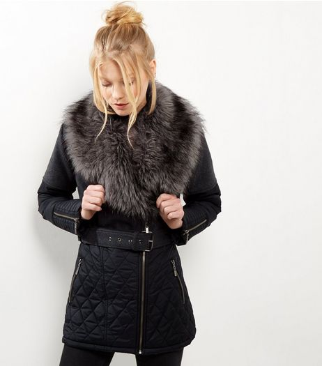 Black Quilted Faux Fur Trim Padded Belted Jacket | New Look
