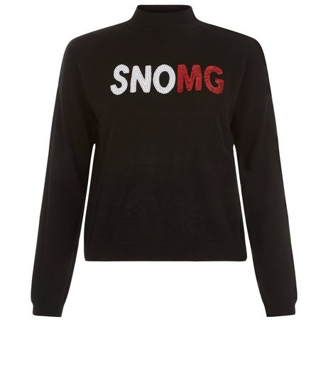 Teens Black SNOMG Christmas Jumper  | New Look