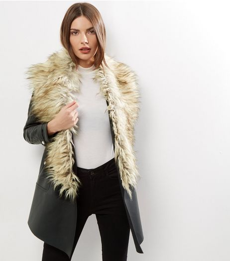 Black Leather-Look Faux Fur Trim Waterfall Jacket   | New Look