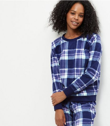 Blue Check Long Sleeve Pyjama Sweater  | New Look