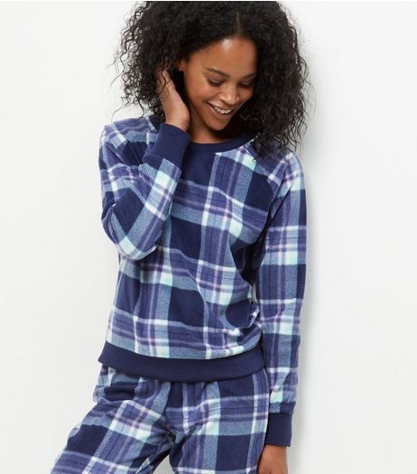 Blue Check Jogger Pyjama Bottoms | New Look