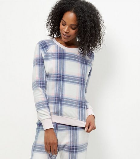 White Check Pyjama Sweater  | New Look