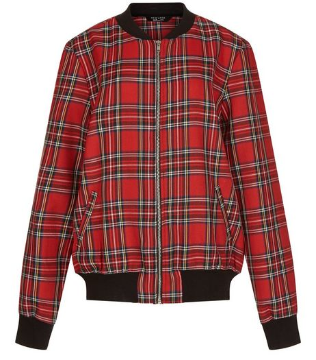 Teens Red Tartan Check Bomber Jacket | New Look