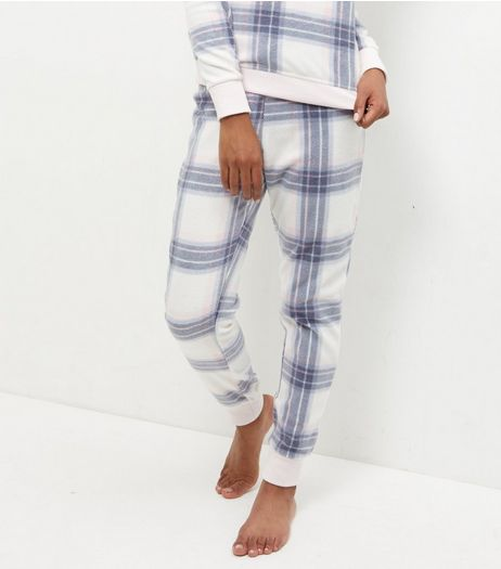 White Check Jogger Pyjama Bottoms | New Look