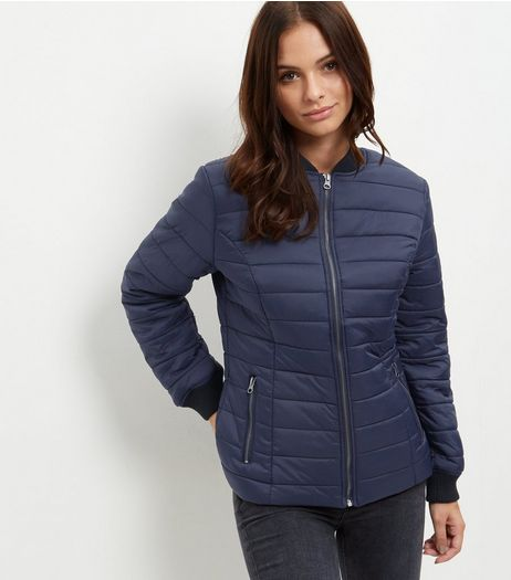 Navy Quilted Padded Bomber Jacket | New Look