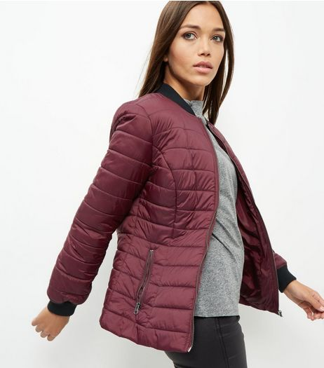 Burgundy Quilted Padded Bomber Jacket | New Look