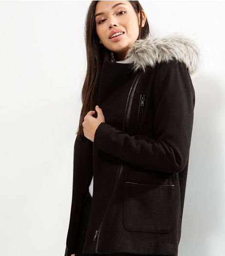 Black Faux Fur Trim Hooded Biker Jacket  | New Look