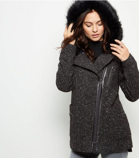 Black Faux Fur Hooded Biker Jacket  | New Look