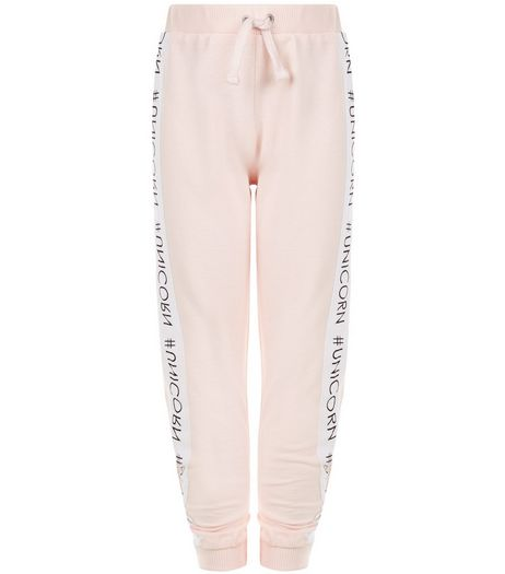 Girls Mid Pink #Unicorn Tape Side Joggers | New Look