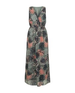 Apricot Green Floral Print Wrap Maxi Dress | New Look