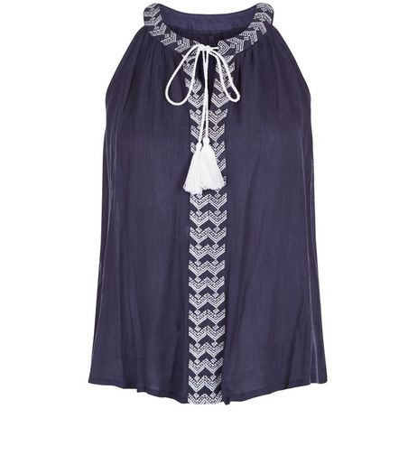 Apricot Navy Embroidered Trim Tassel Top | New Look