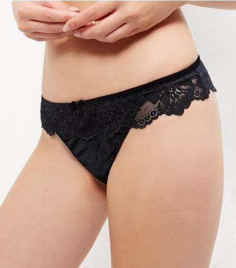 Black Velvet Lace Thong | New Look