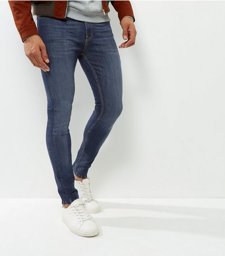 Navy Washed Fray Hem Super Skinny Jeans | New Look