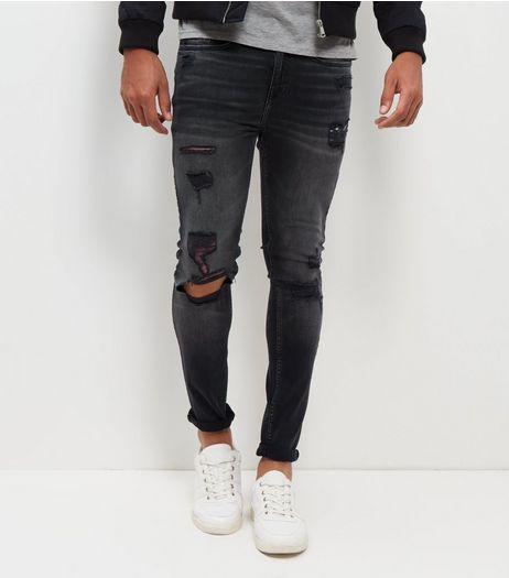 Black Washed Extreme Rip Skinny Jeans | New Look