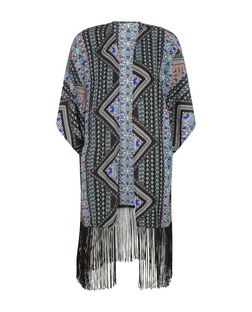Apricot Blue Abstract Print Fringed Kimono | New Look