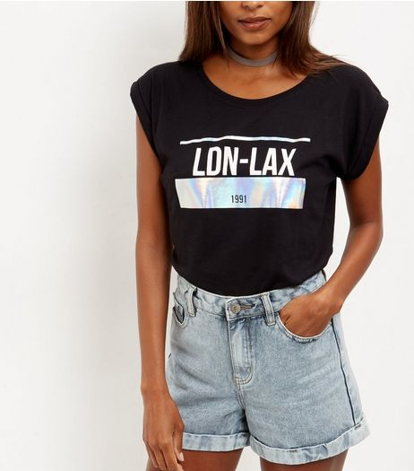 Black LDN LAX Holographic Panel Roll Sleeve T-Shirt  | New Look