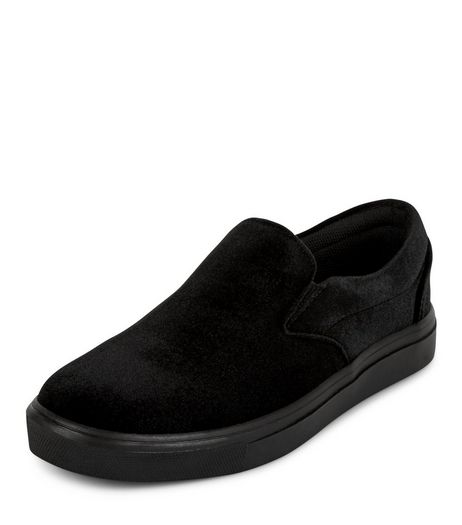 Black Velvet Slip On Plimsolls  | New Look