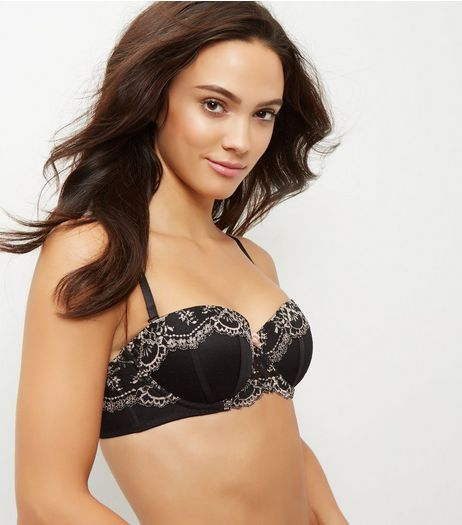 Black Lace Trim Bra | New Look