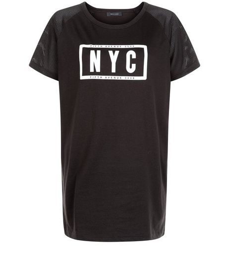 Black NYC Mesh Sleeve T-Shirt | New Look