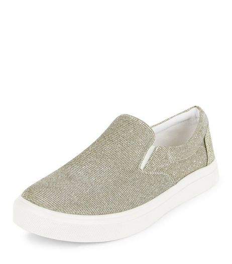 Gold Glitter Slip On Plimsolls  | New Look