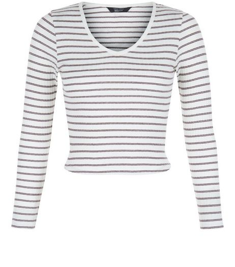 Teens White Stripe V Neck Long Sleeve Top | New Look