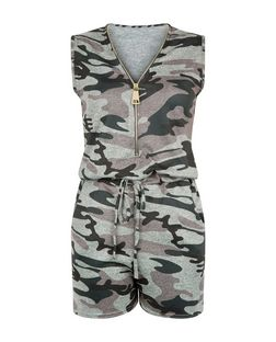 Cameo Rose Green Camo Print Zip Front Playsuit | New Look