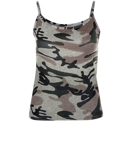 Cameo Rose Green Camo Print Cami | New Look