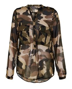 Cameo Rose Green Camo Print Sheer Long Sleeve Shirt | New Look