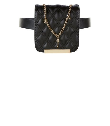 Black Quilted Charm Chain Purse Belt | New Look